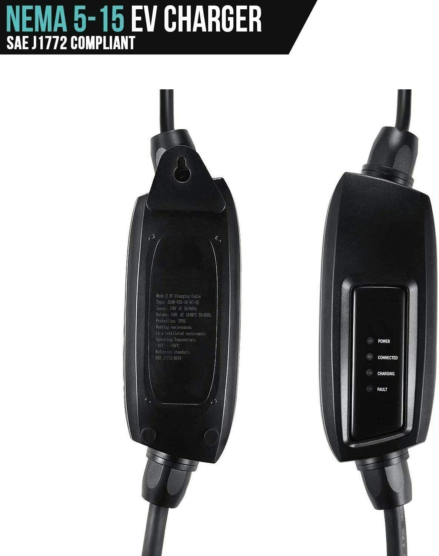 110V 16A Level 1, Black J1772 NEMA 5-15 Plug Electric Vehicle Lectron Bundle Charger /& Tesla to J1772 Adapter EV