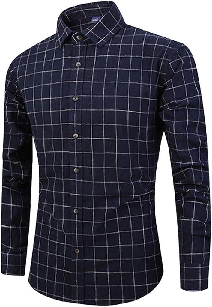 MODOQO Men's Long-Sleeve Plaid Button Down Plus Size Dress Shirts