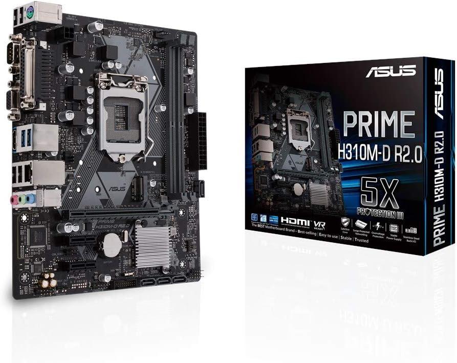 ASUS Prime H310M-D R2.0 - Placa Base mATX Intel de 8a y 9a Gen. LGA1151 con iluminación LED, DDR4 2666MHz, Soporte M.2, HDMI, SATA 6Gbps y USB 3.1 Gen 1