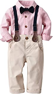 puseky Toddler Kids Boys Gentlemen Suit Stripe Long Sleeve Bow Tie Shirt Suspender Pants Outfits Set