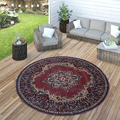 Paco Home In- & Outdoor Teppich Modern Vintage Look Terrassen Teppich Wetterfest Bunt, Grösse:Ø 160 cm Rund