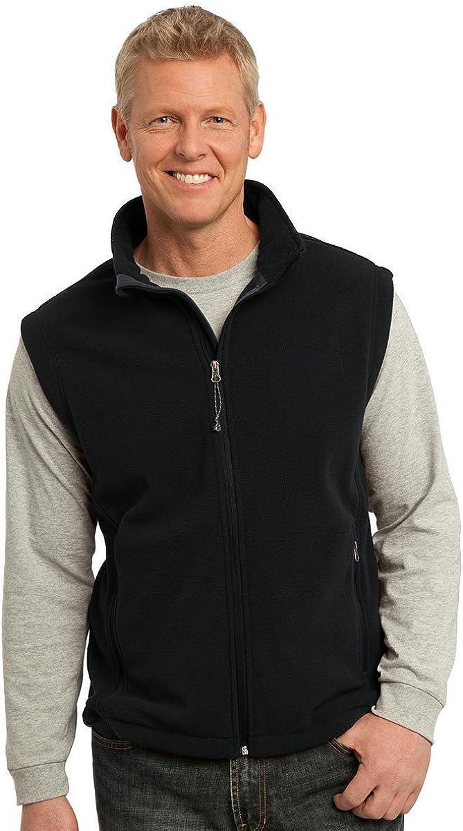 Port Authority Mens Super Soft Zipper Fleece Vest, Black, XX-Large