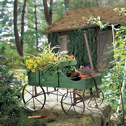 Amish Wagon Decorative Indoor/Outdoor Garden Backyard Planter, Green
