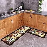 Carvapet 2 Piece Non-Slip Kitchen Mat Rubber Backing Doormat Runner Rug Set, Coffee (19'x59'+19'x31')