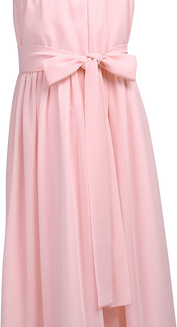 Freebily Girls Rhinestones Pleated Chiffon Flower Girl Dress Princess Pageant Birthday Party Maxi Dress