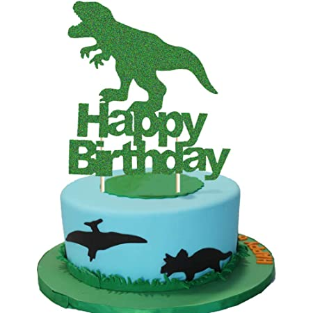 Party Hat Dinosaur cake topper set glitter ANY AGE  Dino cake toppers single sided or double sided