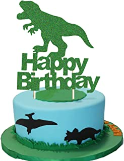 Dinosaur Cake Topper, T-Rex Happy Birthday Party Cake Decor, Dino Jungle Jurassic Dinosaur Birthday Party Cake Supplies Decorations