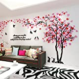 Alicemall Stickers Arbre Mural 3D Autocollants en Acrylique avec des Feuilles Multicolores pour Décoration de la Maison (Style 2(Feuilles Rose et Rouge vers Gauche))