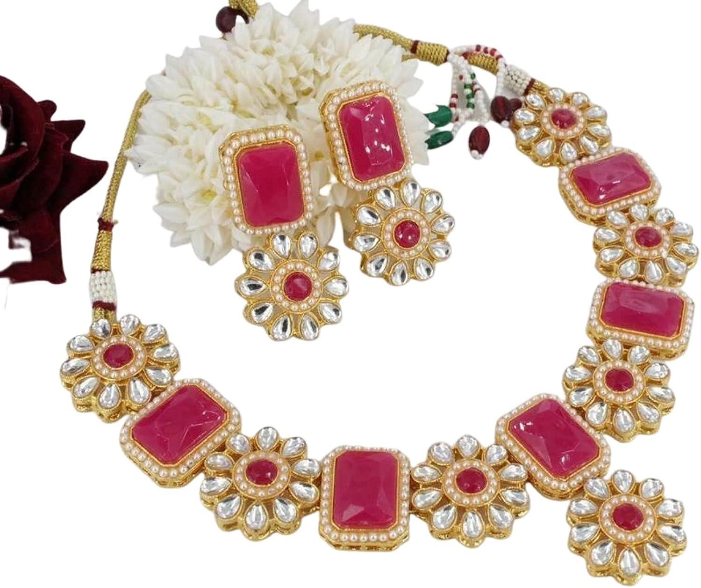 Indian Bollywood Kundan Choker Bridal Wedding Necklace Set Fashion Jewelry