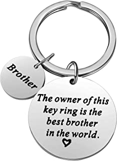 Christmas Gifts for Family Member Grandma Grandpa Mom Dad Sister Brother Keychain Key Ring Love Funny Gifts (Best Brother in The World)