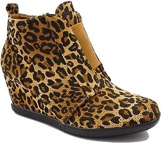 Women's Faux Suede Pinhole Ankle Side Zipper Hidden Wedge Platform Sneakers Fashion Booties PY46