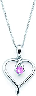 925 Sterling Silver Birthstone Heart Pendant Necklace with 18