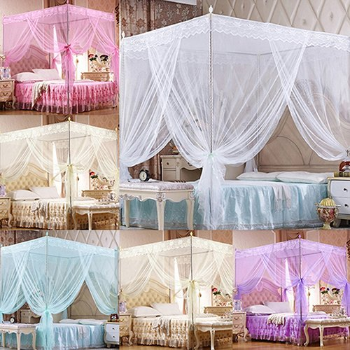 quysvnvqt Romantic Princess Lace Canopy Mosquito Net No Frame for Twin Full Queen King Bed for Home Use - White Queen