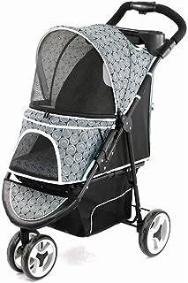 Pet stroller Three-Wheeled Pet Stroller,Collapsible Pet Stroller, Small Pet Stroller, Dog Cart, Pet Supplies, Light Travel Puppies (Color : Gray)