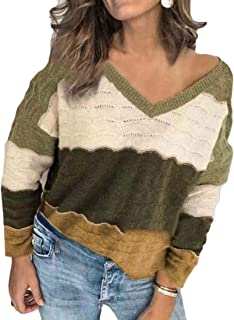 Women Knitted Sweater Long Sleeve V-Neck Pullover Sweaters Top Knit Jumper