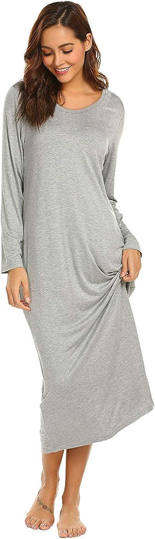 Barnkas Womens Nightshirt Long Sleeves Dress Nightgown Sleepshirt Casual Loose Soft Sleepwear