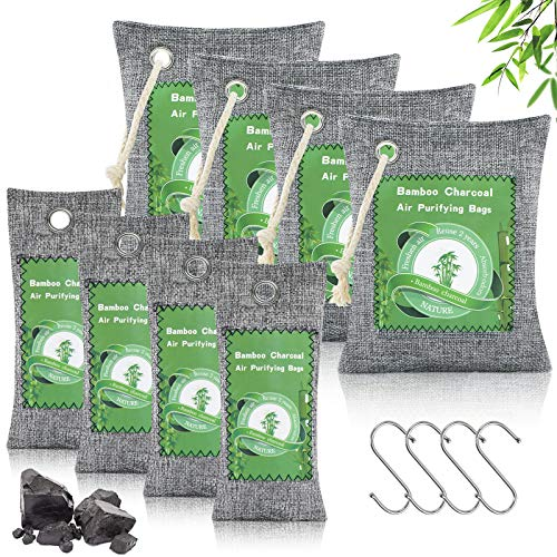 8 Pack Activated Charcoal Bags Odor Absorber, Bamboo Air Fresheners Nature Fresh Air Purifier Bags with Hooks Ropes, Bamboo Charcoal Air Purifying Bag Odor Eliminator for Home, Car, Shoes, Pet