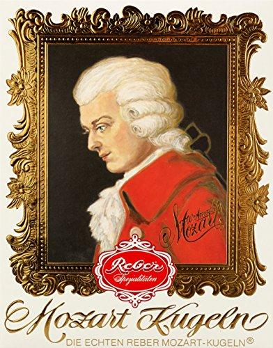 Reber Mozart-Barock, Echte Reber Mozart-Kugeln, Oster-Edition, Pralinen aus Zartbitter-Schokolade, Marzipan, Nougat, Tolles Geschenk, 12er-Packung
