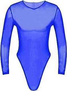 Freebily Sexy Bodysuit for Men Transparent Jumpsuit Stretchy Long Sleeve Lingerie Sexy Mesh Leotards Underwear Costume Sex...