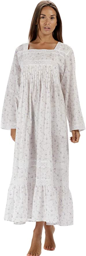 Victorian Nightgowns, Nightdress, Pajamas, Robes The 1 for U 100% Cotton Nightgown Violet with Pockets 7 Sizes $47.99 AT vintagedancer.com