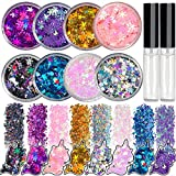 8 Jars of Cosmetic Chunky Glitter Shimmer Body Face Hair Eye Musical Festival Carnival Dance Halloween Party Beauty Makeup Temporary Tattoos Multicolored (80g/2.82oz)+FREE Quick Dry Glitter Glue(10ml)