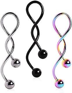 Kiokioa Spiral Twist Navel Ring 316L Surgical Steel Body Piercing Rings14g