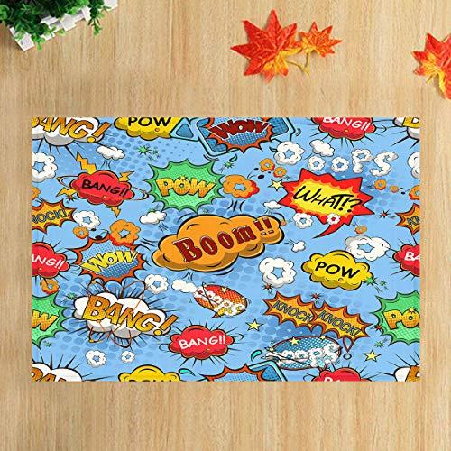 lovedomi Explosión Color Diseño Nubes Imagen Vectorial Serie temática Dibujos Animados Divertido Alfombra baño Alfombra Puerta Antideslizante Alfombra Entrada Piso Interior Alfombrilla para niños