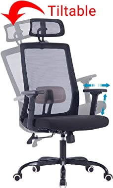 Sidanli High Back Ergonomic Office Chair with Adjustable Headrest, Black Computer Chair with Lumbar Support.