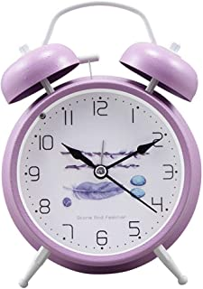 HLVU Réveils Double Cloche métal Réveils Silencieux Horloge de Chevet Batterie avec veilleuse for Chambre Bureau Voyage Cl...