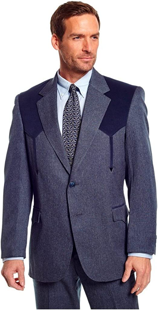 Circle S Men's Boise Western Suit Coat Short, Reg, Tall Hthr Navy 42 REG