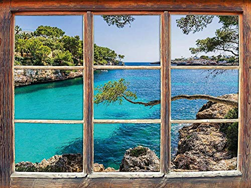 UYEDSR Pegatinas de Pared Vista idílica del Mediterráneo en Mallorca Bay Cove Ventana en Apariencia 3D Etiqueta de la Pared o de la Puerta Etiqueta de la Pared decoración de la Pared 62cmx42cm
