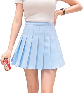 HOEREV Women Girls Short High Waist Pleated Skater Tennis School Skirt