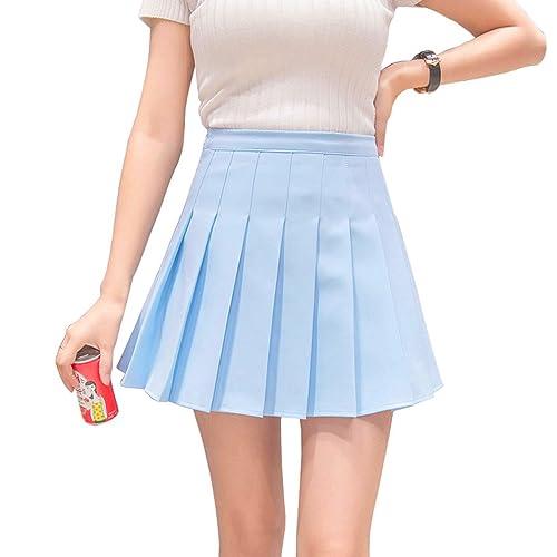 Hoerev Women Girls Short High Waist Pleated Skater Tennis School Skirt de0a8983f4