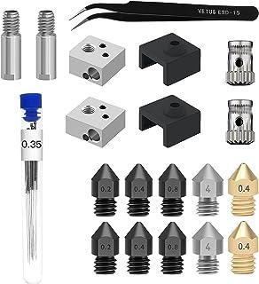 Kit de bocais de impressora 20 unidades 3D Agulhas de limpeza Pinça Tubo da garganta Bloco aquecedor de luva de silicone p...