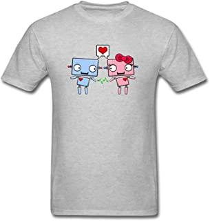 Dotion Men's Robot Drawing Love Design T Shirt