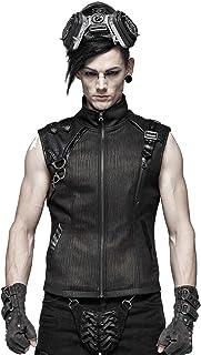 Punk Rave Gothic Men PU Leather Vest Steampunk Black Military Uniform Waistcoat
