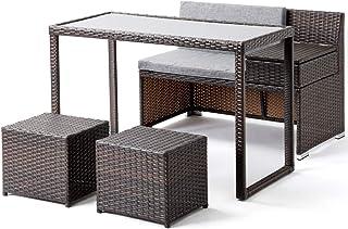 ガーデンファニチャー 4点セット ラタン調 ガーデンテーブル ガーデンチェアー 樹脂 ねじなし 高級 (小型-グレー)