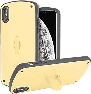 ZLgoods For iPhone XS/X ケース 収納式リング対応 落下衝撃吸収 TPU PC 二重構造 リング付き スタンド機能 シリコン スマホケース 耐衝撃 ワイヤレス充電対応 ストラップホール アイフォンXケース アイフォンXSケース アイフォンXケース 長い円弧の外観デザイン 人気 Insスタイル おしゃれ 携帯カバー iPhone XS/X 対応 内蔵式伸縮ブラケット携帯ケース ZL 2018 30697805.5 (iPhone XS/X, レモン色)
