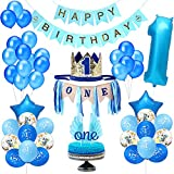 Party 1st Birthday Boy Decorations   Includes High Chair Burlap Decoration Supplies Set, First Royal Prince Boy Crown Hat, Happy Birthday Banner, ONE Cake Topper, Angle Wings Cake Flag, Confetti Marble Foil and Latex Balloons