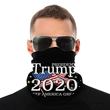 Donald Trump President 2020 Election Windproof Bandana Face Mask Neck Gaiter Scarf Dust Wind Balaclava Headwear for Sun Dust UV White