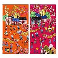 中国の旧正月の伝統的な赤いパケットラッキーマネーの赤い封筒、16個