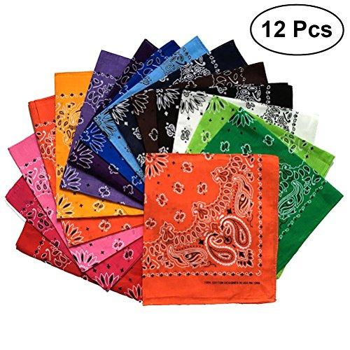Toyvian 100% Polyster Bandana Unisex - Pañuelos Cuadrados Diademas, Paisley Print Verano Playa Bandana, Paquete DE 12 (Color Aleatorio)
