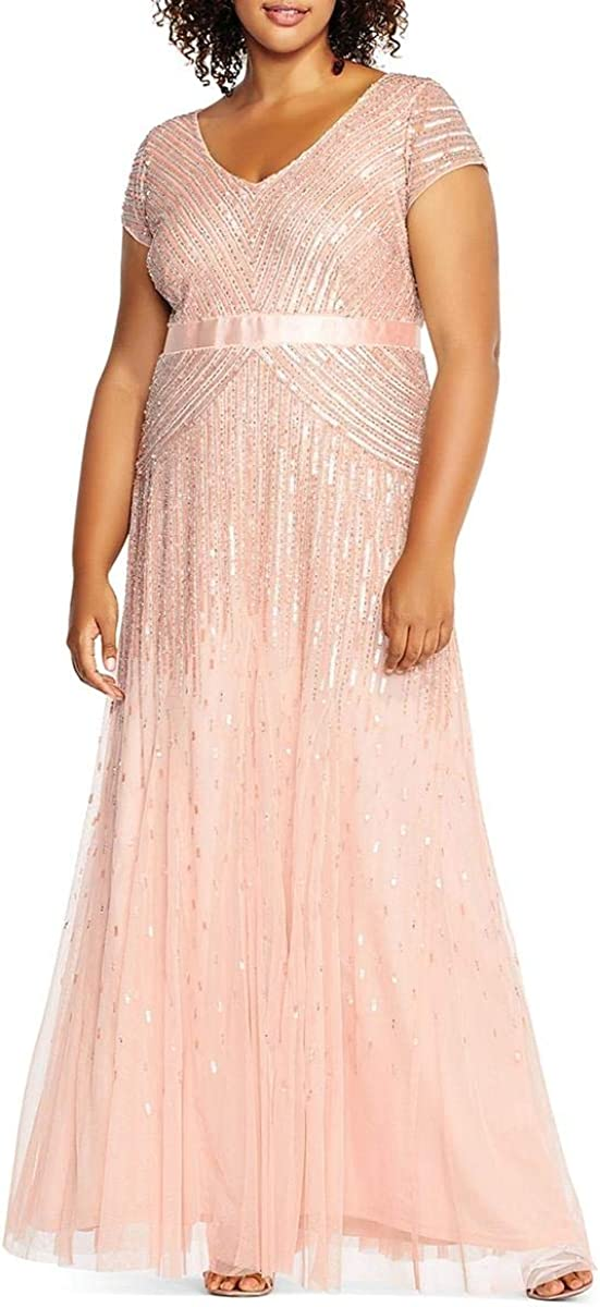 Adrianna Papell Women's Plus-Size Long Cap-Sleeve Gown