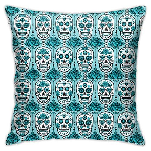 Fundas de almohada con diseño de calavera turquesa de 45,7 x 45,7 cm para casa, cama, sofá, coche, etc.