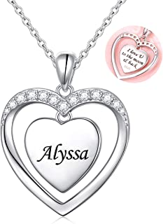 Sterling Silver Heart Personalized Custom Name Necklace Script Initial Nameplate I Love You to the Moon and Back Necklace Jewelry for Women