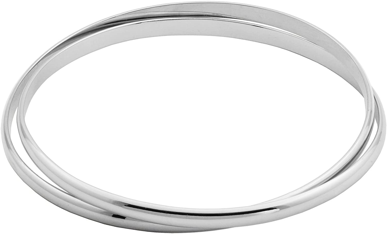 Rhodium Plated Sterling Silver Interlocking Bangle Bracelet, 8