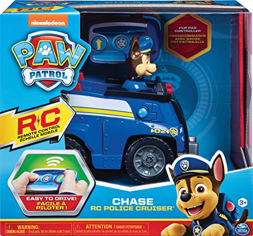 PAW Patrol 6054190 - Ferngesteuertes Polizeiauto mit Chase - Figur, RC Fahrzeug in blau