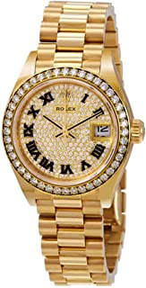 Lady-Datejust 28 Diamond-Paved Dial Automtic Ladies 18kt Yellow Gold President Watch 279138DRP
