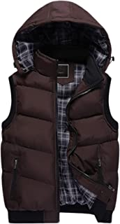 Men's Winter Warm Drawstring Removable Hooded Quilted Warm Sleeveless Jacket Gilet Padded Vest