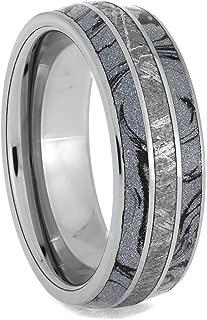 Cobaltium Mokume and Meteorite Tungsten Ring, Unique Men's Wedding Band Size 11